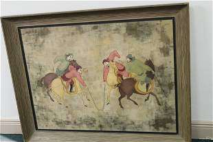 A Framed Pastel on Board Chinese Painting