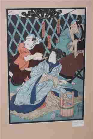 Framed Woodblock Print by Kuniyoshi Utagawa