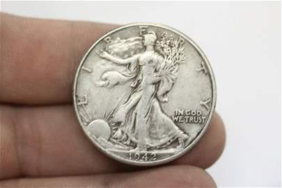 A 1942 Walking Liberty 90% Silver Half Dollar