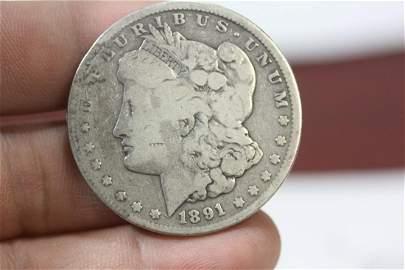 An 1891-CC Morgan Silver Dollar