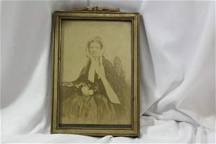 An Old Framed Black and White Photo Print