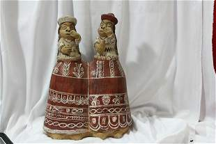 American Red Clay Twin Sisters Figure