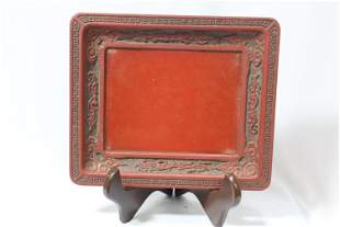 A Chinese Cinnabar Lacquer Tray