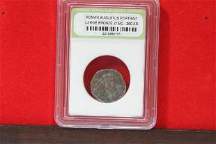 A Slabbed Large Bronze Roman Coin