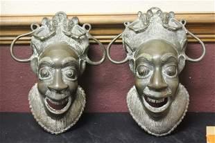 A Set of Two Bronze/Other Metal Wall or Door Hanger