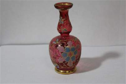 A Handpainted Cranberry Glass Vase