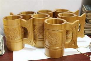 Lot of 7 USSR or Russian Carved Wooden Mugs