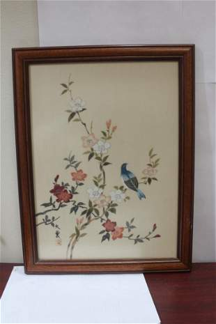 A Signed Oriental Pastel on Silk Painting