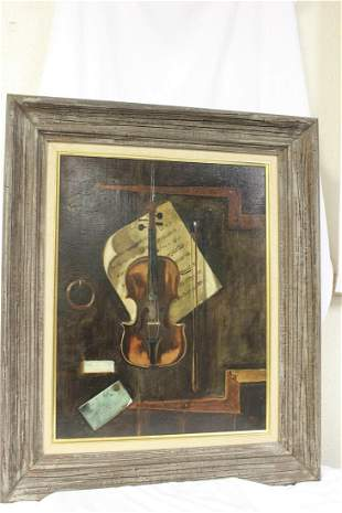 An Oil on Canvas of a Violin