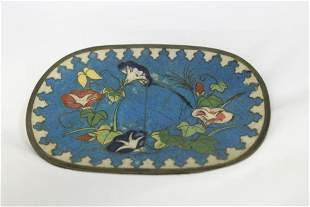 A Cinese/Oriental Square Cloisonne Plate