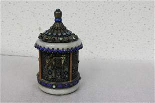 An Antique Chinese Silver and Jade Tea Caddy