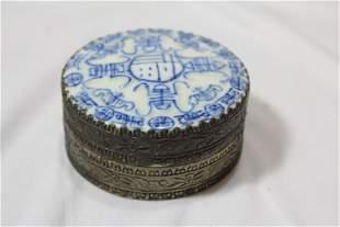 A Chinese Blue and White Powder Box