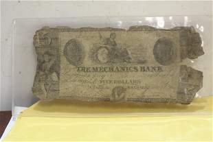 The Mechanics Bank Five Dollar Note