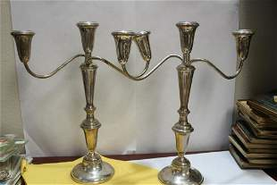 A Pair of Empire Sterling Candelabras