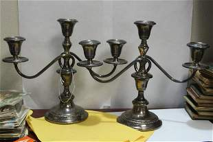 A Pair of Sterling Candelabra