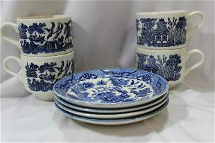 Antique Blue and White Canton Cups and Saucers