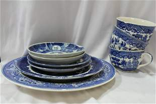Lot of 9 Blue and White Canoton Items