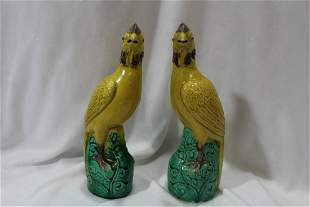 A Pair of Chinese Porcelain Chickens