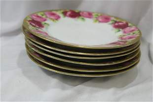 Set of 6 Rose Patern Bread Plates