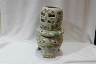 3 Pices of Rose Medallion Porcelain Articles