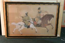 A Signed Chinese Pastel Painting on Silk
