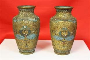Pair of Antique Cloisonne Vase