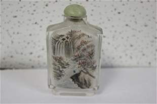 An Inside Painted Glass or Crystal Snuff Bottle