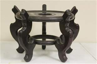 A Vintage Chinese Floor Vase Wood Stand