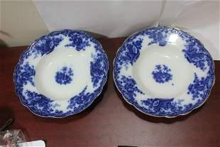 A Pair of Burslem Flow Blue Soup Bowl