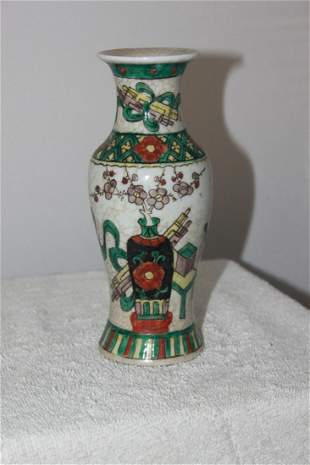 Antique Early 20th  century Chinese Famille Verte Vase