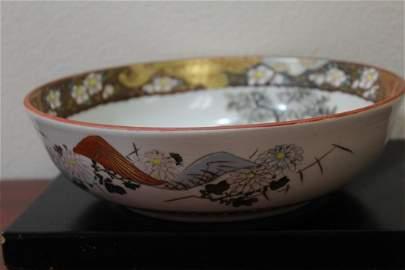 A Signed Rare Kutani Samurai Bowl
