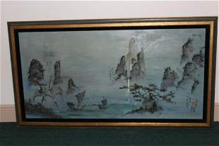 A Signed Chinese Oil on Board Painting