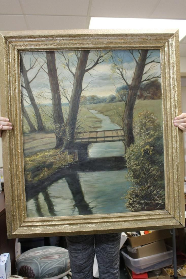 An Antique/Vintage Oil on Canvas of a Building