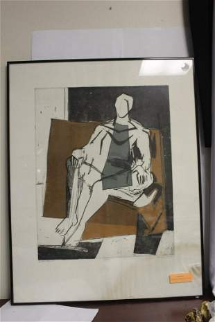 A Signed Agnes Mills Seated Figurine Etching