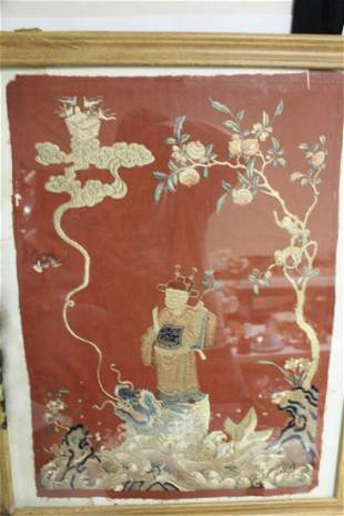 An Antique Framed Chinese Silk