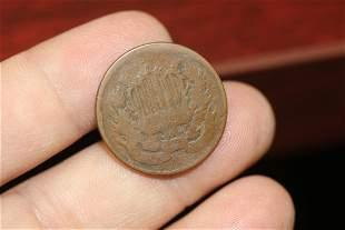 An 1864 2 cent Piece