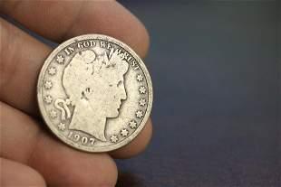 A 1907-D Barber Half Silver Dollar