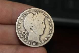 A 1909 Barber Half Silver Dollar