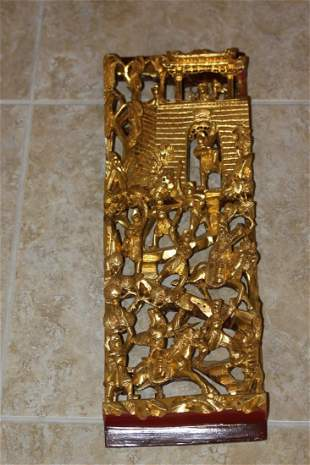 Gold Gilt Chinese Panel Depicts a Fight scene