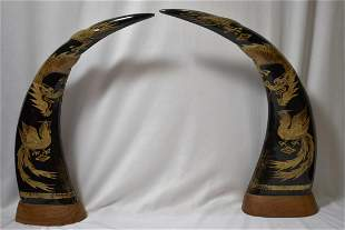 A Pair of Well Carved Ox Horns