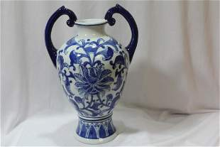 An Oriental Blue and White Porcelain Urn
