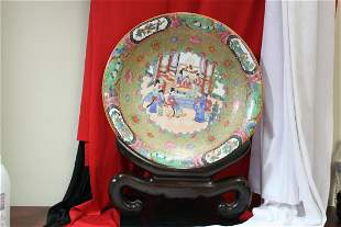 A Rose Medallion Platter and Wood Stand