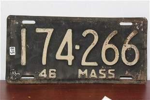 A 1946 Massachusetts License Plate