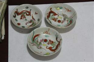 Set of 3 Vintage Chinese Dragon and Phoenix Saucers