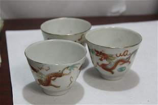 Set of 3 Vintage Chinese Dragon and Phoenix Cup