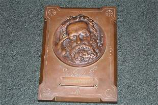 A Signed Bronze Victor Hugo Plaque - Dated 1885