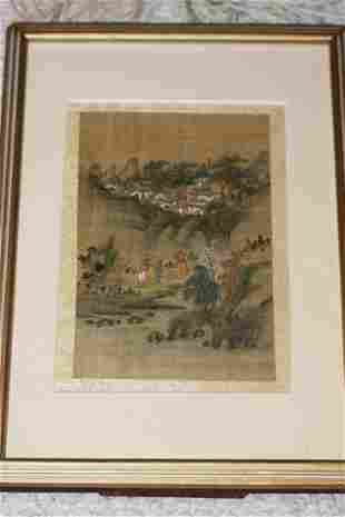 Antique Chinese Pastel and Silk Painting