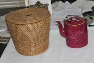 Antique / Vintage Chinese Porcelain Teapot with Basket