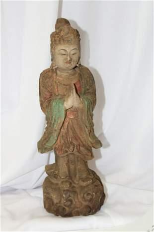 A Chinese Polychrome Wooden Kwan Yin