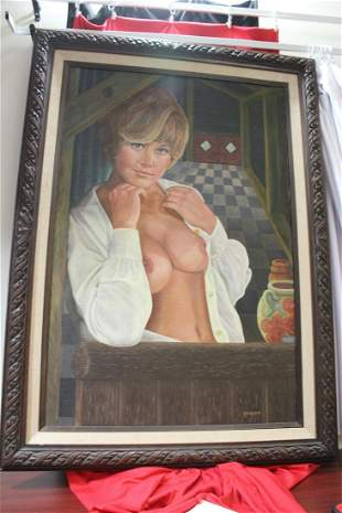 An Oil on Board of a Pin Up Girl